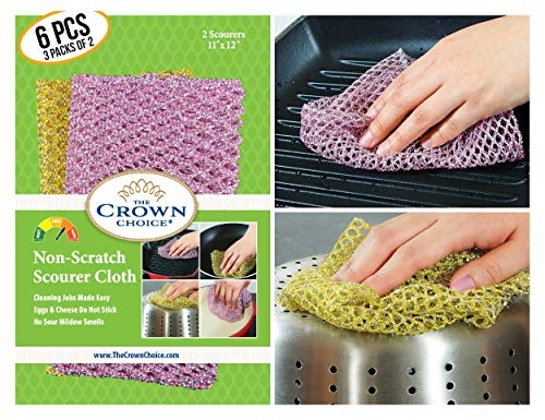 (The Crown Choice Non-Scratch Heavy Duty Scouring Pad or Pot Scrubber Pads (6 PCs) | for Scouring Kitchen, Dishwashing, Cleaning | Nylon Mesh Scrubbing Scrubbies | Scrub Pads Cloth Outlast Any Sponges)