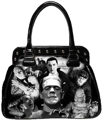 Rebel Rock Purse Bag - Rock Rebel Universal Monsters Collage Frankenstein Black Shoulder Bag Purse