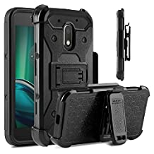 Moto G4 Play Case, Moto E3 Case, Venoro Heavy Duty Shockproof Rugged Three-Layer Full Body Protection Case Cover with Belt Swivel Clip and Kickstand for Motorola Moto G Play XT1607 (Black)