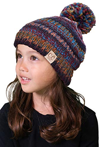 H-6847-70572 Kids Pom Beanie - Multi Mustard Mix