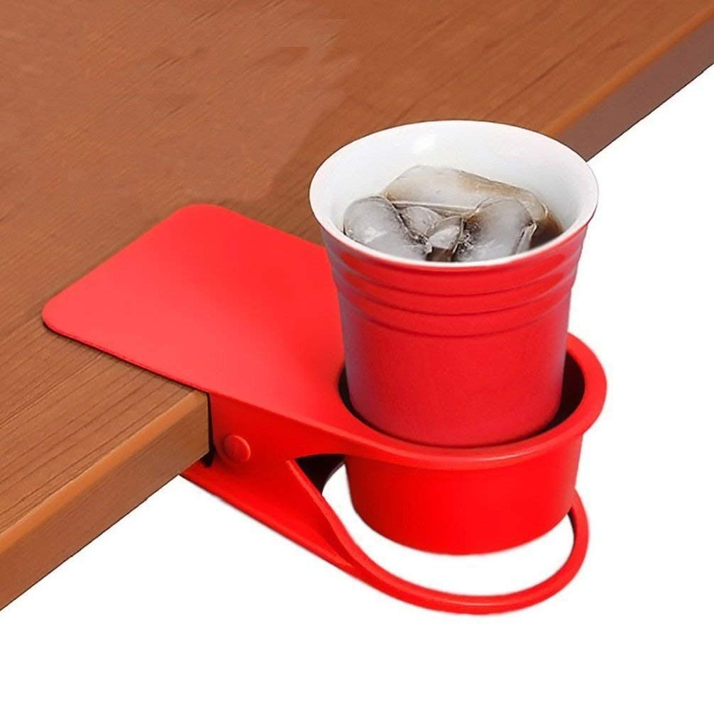 Twinsisi Drinking Cup Holder Clip - Home Office Table Desk Side Huge Clip Water Drink Beverage Soda Coffee Mug Holder Cup Potted Plant Headphones Date USB Cable Pen Storage Saucer Clip Design (black)
