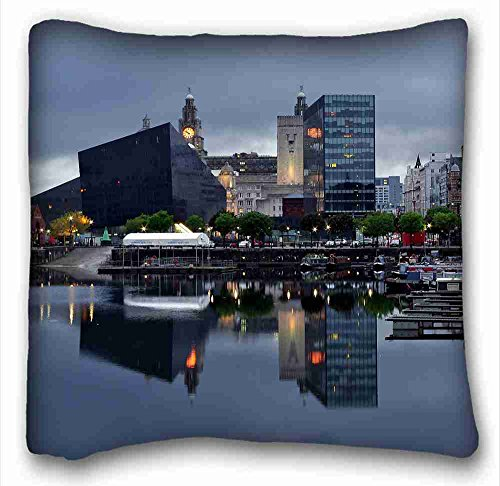 Custom Characteristic ( City liverpool river buildings images night beach ) Soft Pillow Case Cover 16*16 Inch (One Sides)Zippered Pillowcase suitable for King-bed PC-Green-4460 (Liverpool Pillowcase)