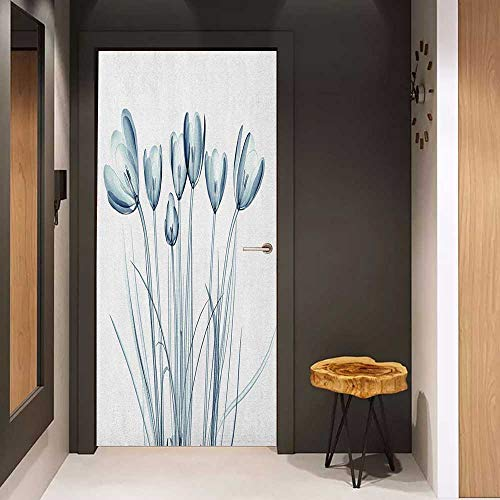 (Onefzc Sticker for Door Decoration Flower X ray Transparent Image of Tulips Solarized Effects Nature Inspired Vision Door Mural Free Sticker W31 x H79 White and Dark Teal)