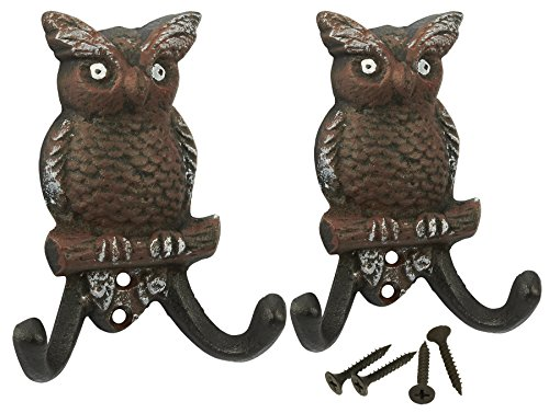 Set of 2 Cast Iron Cute Matching Owls Decorative Wall Hooks from Juvale