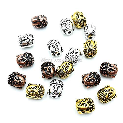 (Calvas 60PCS Buddha Small Spiritual Tibetan Metal Beads Buddha Head Mixed Color Spacer Charm Beads DIY Jewelry Making Bracelet URELS)