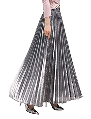Chartou Women's Premium Metallic Shiny Shimmer Accordion Pleated Long Maxi Skirt (X-Small, Silver) - Womens Shimmer