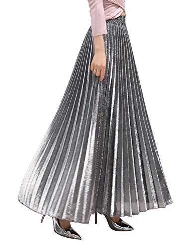 (Chartou Women's Premium Metallic Shiny Shimmer Accordion Pleated Long Maxi Skirt (Large, Silver))