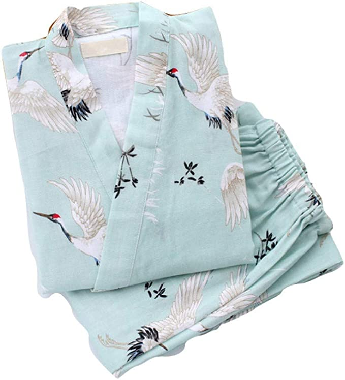 YTFOPLK Grúa Fresca De Verano Bata De Algodón Kimono Bata Pijamas para Mujeres Japonesas Dormir Batas Interiores Batas Yukata para Mujeres, Cyan-L: Amazon.es: Ropa y accesorios