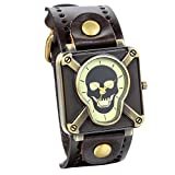 JewelryWe Retro Punk Rock Brown Big Wide Leather Bracelet Cuff Men Skull Watch