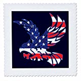 3dRose Alexis Design - America - Silhouette of a bald eagle in flight and the American flag on blue - 22x22 inch quilt square (qs_276086_9)