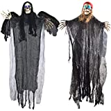 """Two 40"""" Halloween Hanging Ghost Decorations, One Flying Grim Reaper and One Skeleton Pirate with LED Flashing Eyes"""
