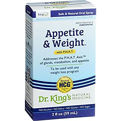 King Bio Homeopathic Appetite and Weight Control - with PHAT - 2 oz - Safe and Natural Oral Spray - Alcohol Free