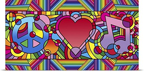 Howie Green Poster Print entitled Peace Love Music B