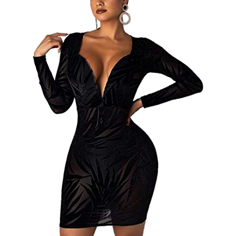 Nhicdns Women s Sexy Glitter Long Sleeve Backless Deep V Neck Bodycon  Evening Mermaid Maxi Dress Gown at Amazon Women s Clothing store  466f6896c