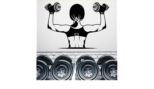 Cmdyz Personalidad Vinilo Tatuajes De Pared Gimnasio Músculos Chica Hermoso Cuerpo Mancuernas Pegatinas Tamaño 41 * 57 Cm: Amazon.es: Bricolaje y ...