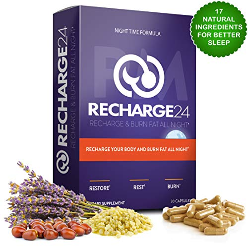 RECHARGE24 PM Sleeping Pills with Valerian Root Extract and Melatonin Organic Sleep Aids for Adults Extra Strength and Appetite Suppressant Night Time Fat Burner for Weight Loss - 30 Day Supply