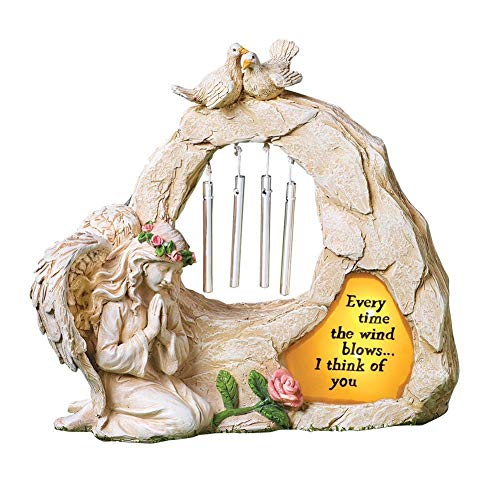 CT DISCOUNT STORE Garden Memorial Angel (Angel Memorial with Wind Chime Garden Figure) ()