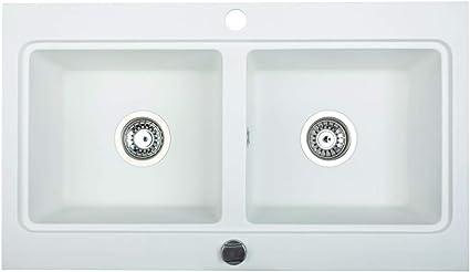 Brenor Nubiru Rettangolare Granito Lavello Cucina Doppia Lavello Con Piletta Dimensioni 79 5 Cm X 45 5 Cm Bianco Amazon It Fai Da Te