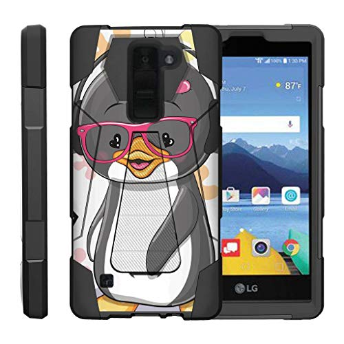 TurtleArmor | Compatible for LG K8V Case | LG K8 V Case | VS500 [Dynamic Shell] Hybrid Duo Cover Impact Absorbent Shock Silicone Layer Kickstand Hard Shell Animal Design - Cute Penguin