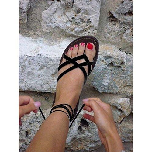 Hongcao Chaussures Ancien Chaussures Femme Mode Nu Up Fermé Lace Noir Sandales Plate Bout Chaussures Plateforme Été qEEwvz1xr