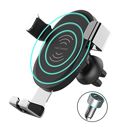 Fast Car Wireless Charger, Racepro One Touch Car Windshield/Dashboard/Air Vent Qi Charger Mount for iPhone X 8 8 plus Samsung Galaxy S8 S8 Plus Note 8 LG G2 and More -
