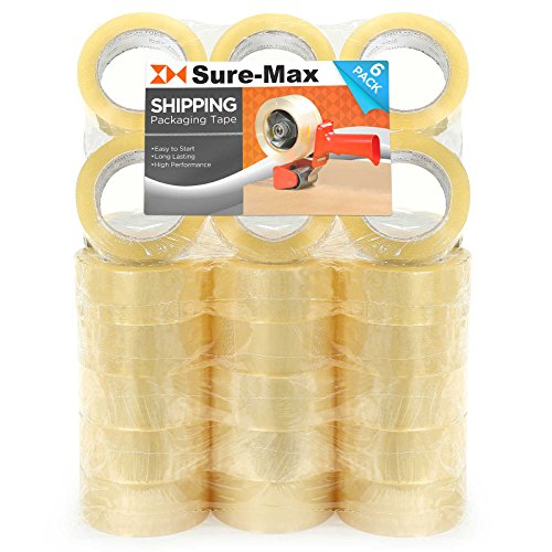 Sure-Max Premium Carton Packing Tape 2.0 mil 330 Feet (110 Yards) - Clear - 1 Case (36 Rolls Total) ()