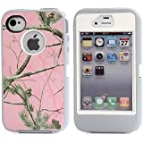 For Iphone 4 Case,Iphone 4s Case,Fivers(TM) Heavy Duty Case 3 in 1 Three Advantages Waterproof Dustproof Shakeproof with Forest Camouflage Desig Cell Phone Cases for Iphone 4/4s (Tree- Pink)