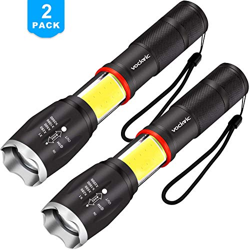 Vockvic LED COB Flashlight 2 pack, Cree High 1000 Lumens Super Bright Tactical Flashlight, Portable Waterproof Zoomable Work Light with 6 Light Modes and Magnetic Base for Camping Outdoor Emergency -