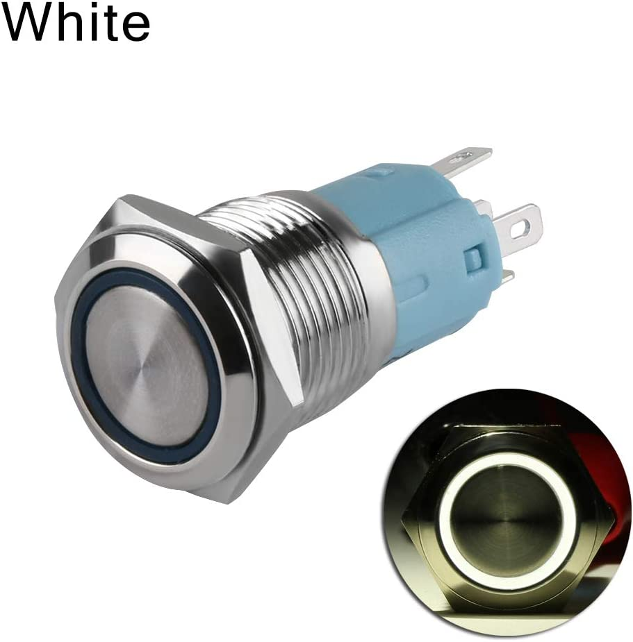 jumpeasy Hot Fashion Durable Symbol Self-Locking Car Aluminum Latching Push Button Switch LED ON//of White