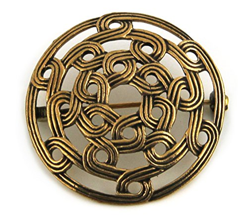 Brooch Free Ship Pin (LynnAround Bronze Gold Viking Shield Brooches,Clothes Fasteners - Cloak, Shawl, Scarf Pin, Celtic Irish Norse Vintage Jewelry (Brooch V.2))