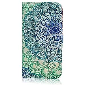 zxc Blue Green leaves And Flowers PU Leather Full Body Case with Stand and Card Slot for Samsung Galaxy S5Mini