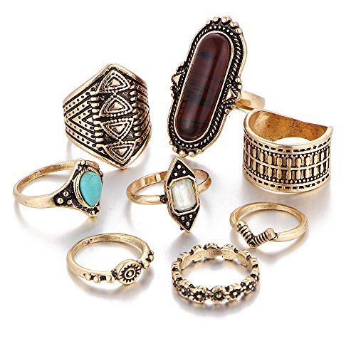 mian Silver Gold Turkish Arrow Moon Turquoise Joint Knuckle Nail Midi Ring Set ()
