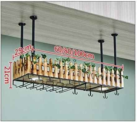 Household wall-mounted wine glass racks, personalized wine racks on the wall, bar wine glass racks, hanging solid wood stemware racks with lights