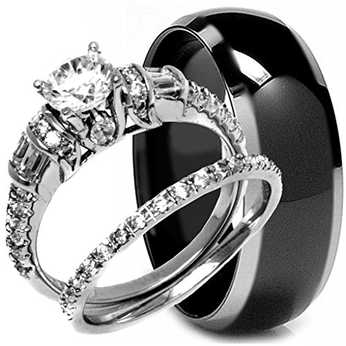 3 Pieces Men's and Women's, His & Hers, 925 Genuine Solid Sterling Silver & Black Carbon Fiber Titanium Engagement Matching Wedding Anniversary Ring Set