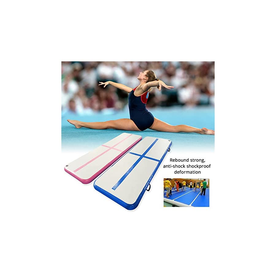 Creacolis Gymnastic Inflatable Air Track Tumbling Mat/Home Set/Inclined Mat/Air Beam/Yoga Mat with Pump