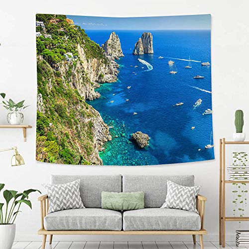 - BEIVIVI Colorful Art Design Tapestry Stunning Capri Island Beach and Faraglioni Cliffs Italy Europe Tapestry, Living Room Bedroom Decoration Tapestry, Mattress, Tablecloth
