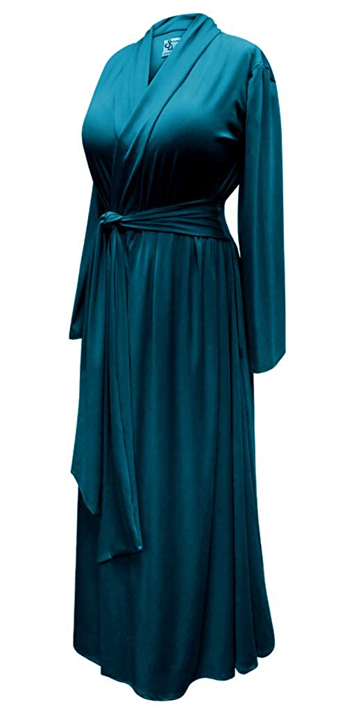 Plus Size 1940s Style Dressing Gown Robe in Teal Ultra Soft Brushed Jersey with Attached Belt