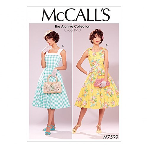 McCalls Ladies Sewing Pattern 7599 Vintage Style Lined Flared Dresses with Petticoat ()