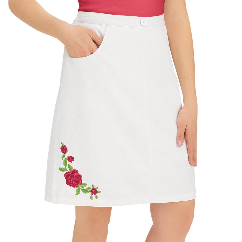 Women's Rose Embroidered Pull-On White Elastic Waist Cotton Skort with Pockets, White Multi, X-Large