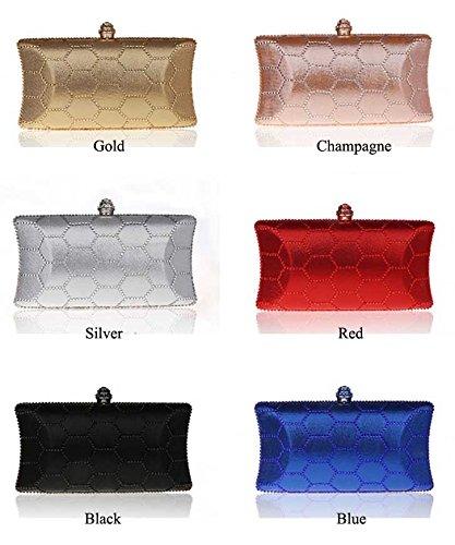 KAXIDY Damen Clutch Bag Abendtasche Brauttasche Damentasche Handtasche mit Strass Party Hochzeit Brieftaschen Schwarz guvw18MhGz