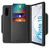 Maxboost mWallet Designed for Galaxy Note 10 Case [Folio Cover] [Stand Feature] Premium Samsung Note10 Wallet Case Credit Card Holder [Black] PU Leather Wallet + Side Pocket Magnetic Closure