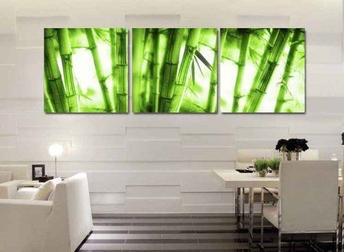 XM Art-Canvas Print, Vivid Green Bamboo Unstretched And Unframed, 3Panels Canvas Art The Extensive Modern Canvas Wall Art for Home Decoration