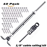 316-Stainless Steel Adjustable Angle Cable Railing Hardware Kit fit 1/8'' Wire Rope for Wood Post(10 pack)