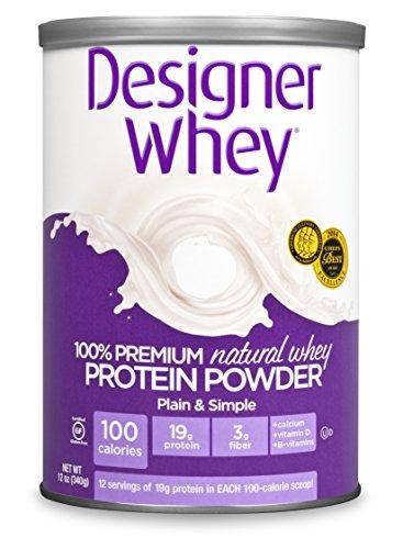 DESIGNER WHEY 100% Premium Whey Protein Powder naturel, 12 once