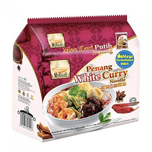 MyKuali / Malaysia Best Brand / Penang White Curry Instant Noodles / Rich Aromatic Broth / Exceptional Springy Noodles With Real Garlic Bits In Every Bite (4 packets x 110g) by MyKuali