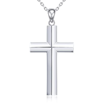 58e4b35d50e MANBU 925 Real Sterling Silver Charm Classic Cross Pendant Necklace Jewelry  Gift for Women or Girls  Amazon.co.uk  Jewellery