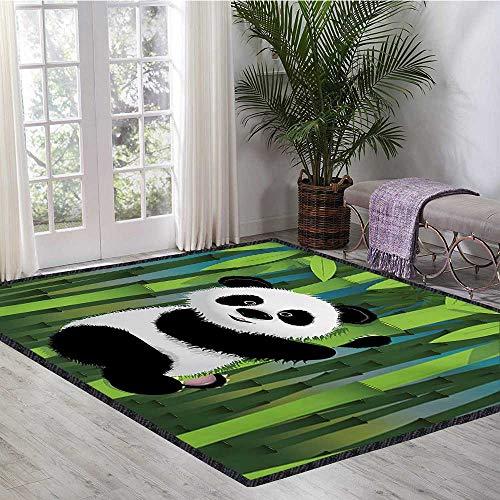 (Cartoon, Area Rug Dorm, Curious Baby Panda on Stem of The Bamboo Bear Jungle Wood Illustration, Bath Mat Non Slip 6x9 Ft Fern Green Black White)