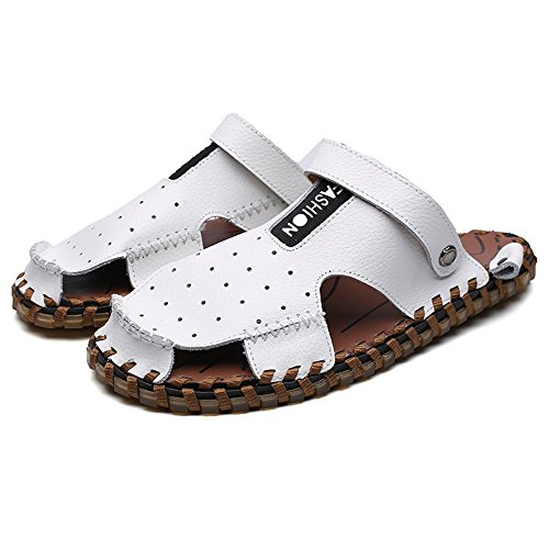 Dimensione piatti Casual shoes pelle 2018 EU da Mens regolabile Bianca sandali per schienale morbidi 41 vera all'aperto in escursioni uomo antiscivolo senza in pelle Color qfw8BIF8