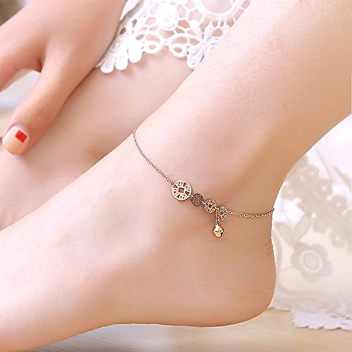 TKHNE The shop two fashion size coins bell Foot Chain anklet ankle chain women girls foot steel rose gold rope chain feet foot ring by TKHNE