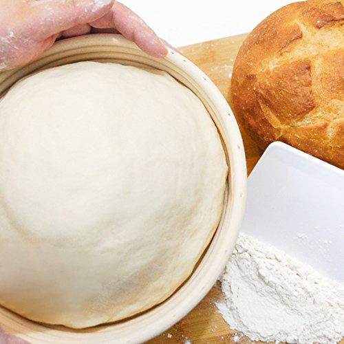 4-In-1 Set of Banneton Bread Proofing Basket (10 Inch) + Liner + Scraper + Linen Bag - Round Brotform Proofing Basket/Banetton Brotform Bowl - Best for Artisan Bread Making Sourdough, Rye & Others by 101KitchenEssentials (Image #6)
